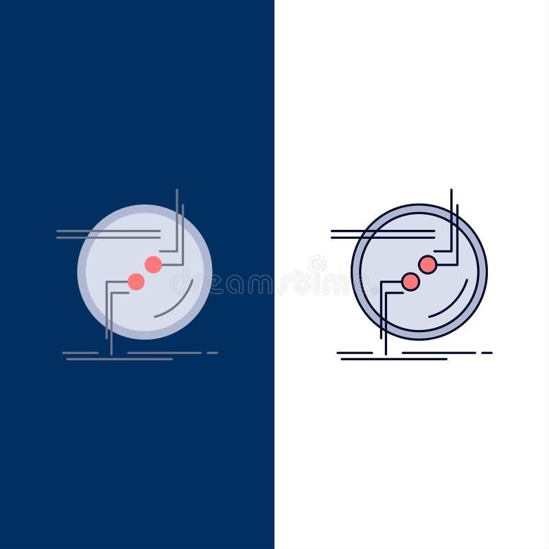 de ketting, verbindt, verbinding, verbinding, het Pictogramvector van de draad Vlakke Kleur vector illustratie