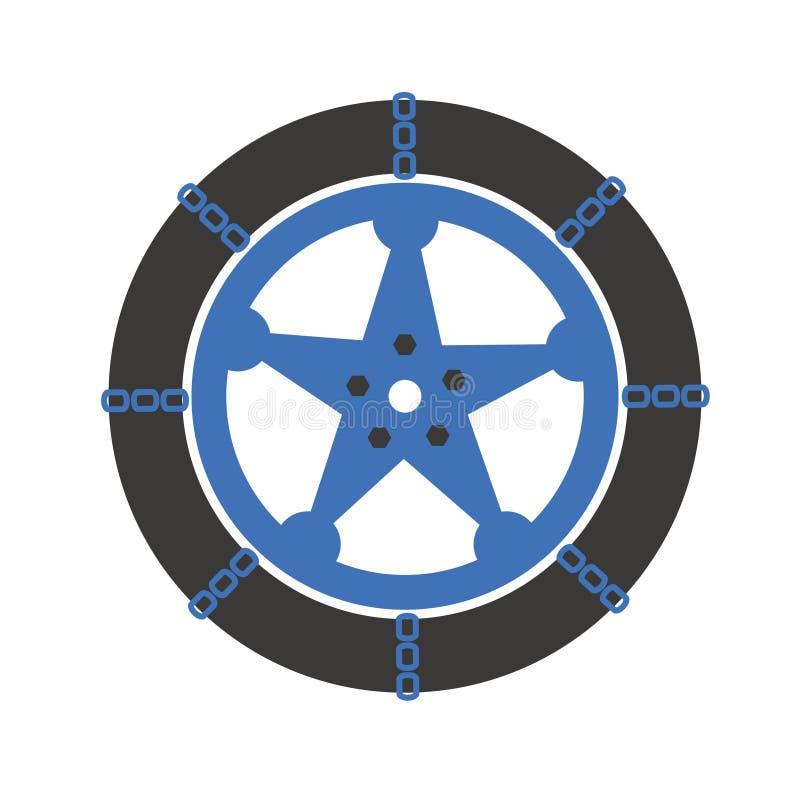 De kettingen van de autosneeuw stock afbeelding