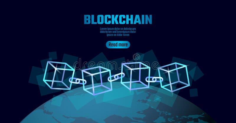 De kettingssymbool van de Blockchainkubus op vierkante de stroominformatie van code grote gegevens De blauwe bol van de neon gloe royalty-vrije illustratie