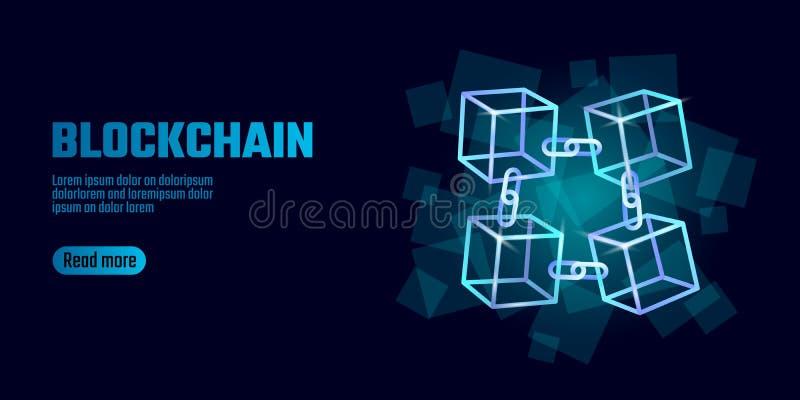 De kettingssymbool van de Blockchainkubus op vierkante de stroominformatie van code grote gegevens Blauwe neon het gloeien modern stock illustratie