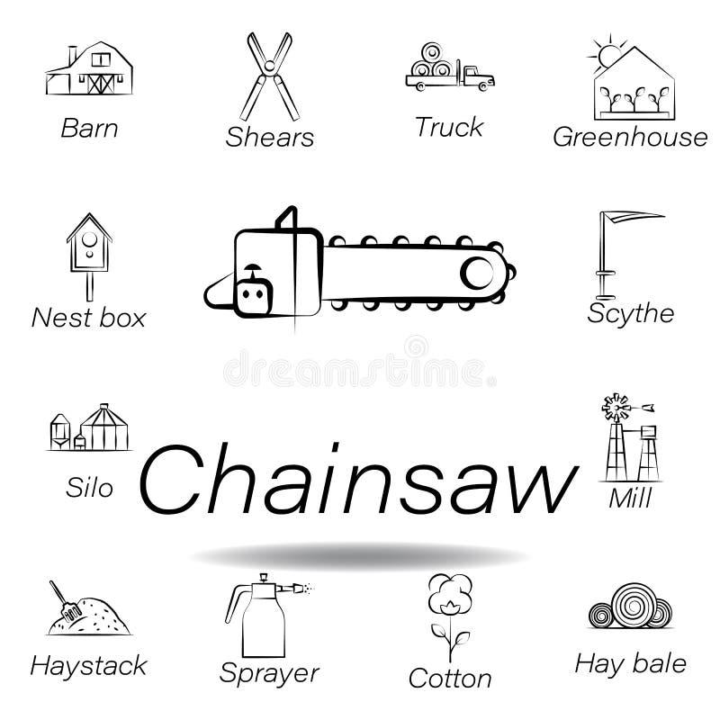 De kettingzaaghand trekt pictogram Element van de landbouw van illustratiepictogrammen De tekens en de symbolen kunnen voor Web,  royalty-vrije illustratie