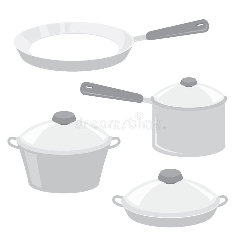 De Keuken Cook Pot Saucepan Frying Pan Boiler Cartoon Vector van het materiaalhulpmiddel stock illustratie