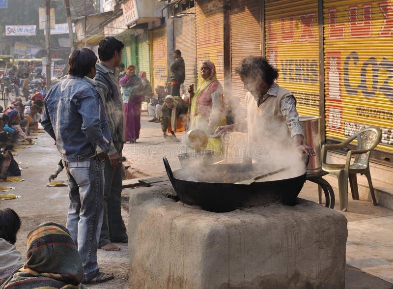 De keuken van de straat in India stock afbeelding