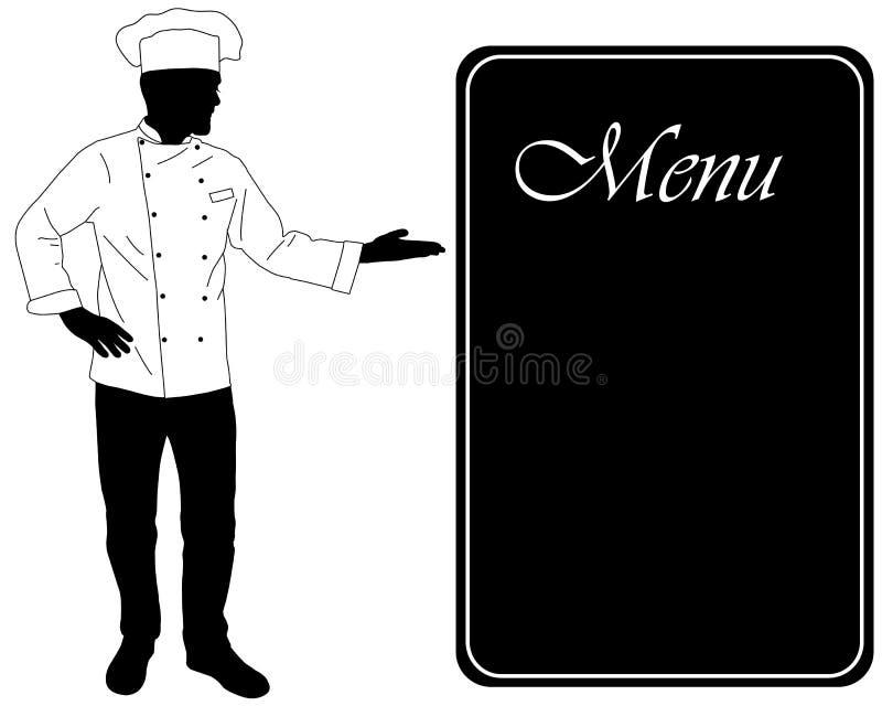 De keukenchef-kok biedt dinning menusilhouet aan stock illustratie