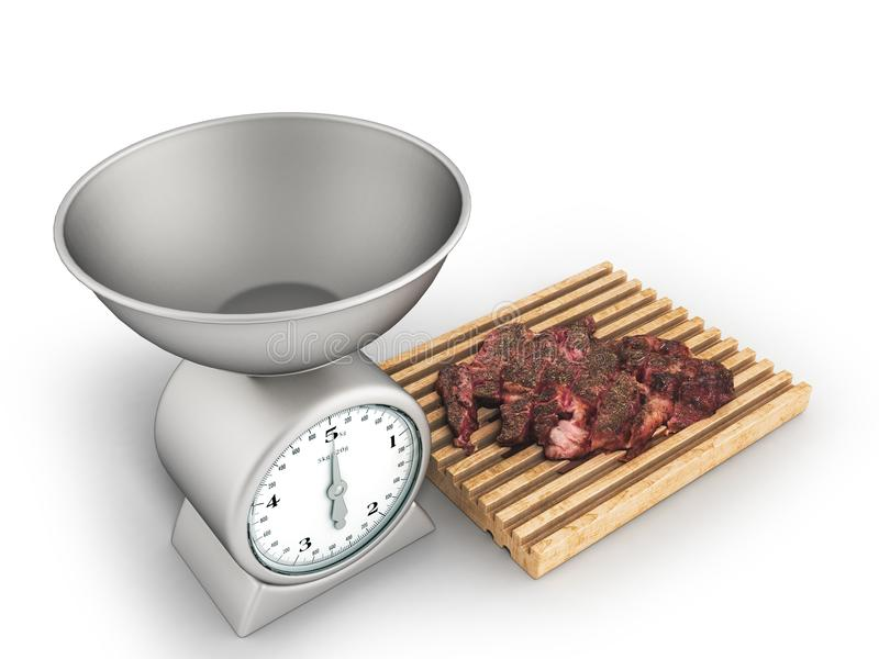 De keukenschalen en het vleeshaasbiefstuk op een witte 3d raad geven terug royalty-vrije illustratie
