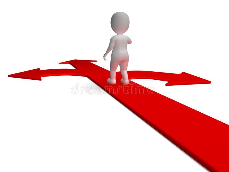 De Keus die van pijlen Kiezend Alternatieven of het Beslissen tonen stock illustratie