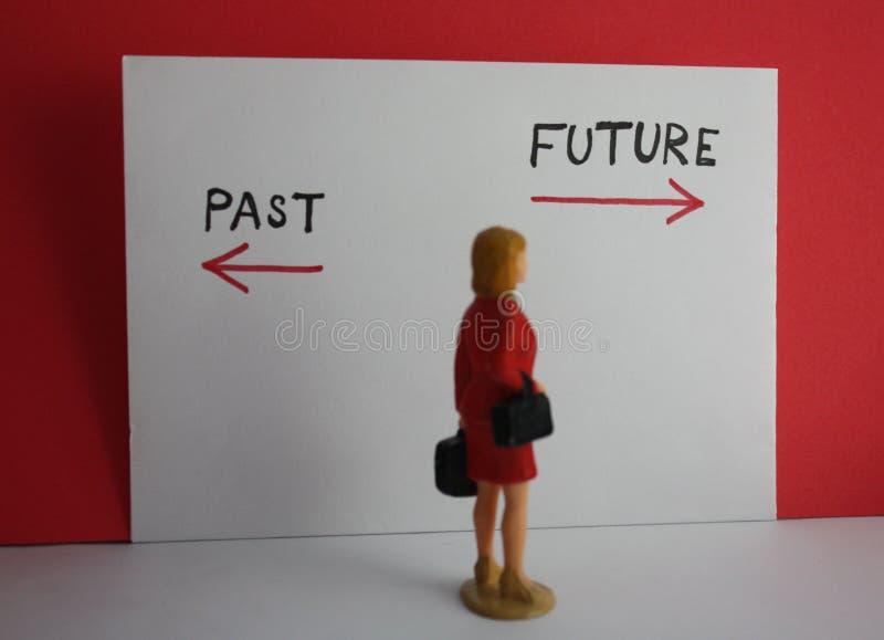 De keusconcept van het vrouwen afgelopen en toekomstig besluit Weinig vrouwelijke manier van de beeldje annd afgelopen of toekoms stock foto