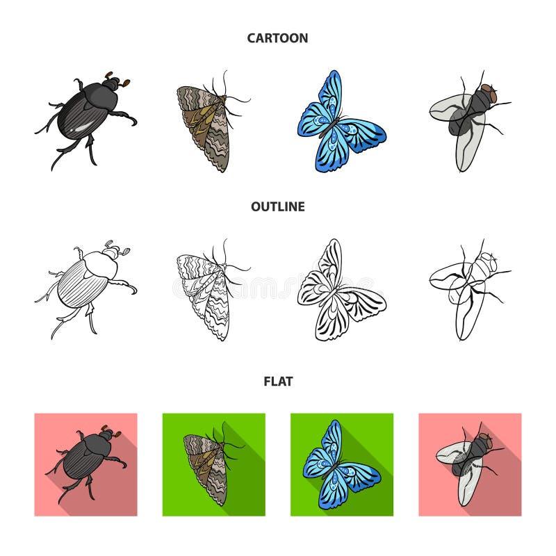 De kever van het geleedpotigeninsect, mot, vlinder, vlieg De insecten geplaatst inzamelingspictogrammen in beeldverhaal, schetsen stock illustratie