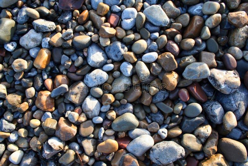 De kiezelstenen van het strand in zonlicht royalty-vrije stock foto