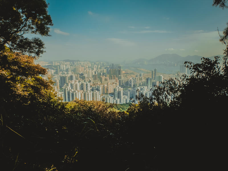 De kijker van Hongkong stock afbeeldingen