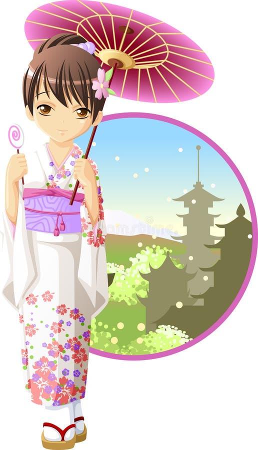 De kimonomeisje van de zomer stock illustratie