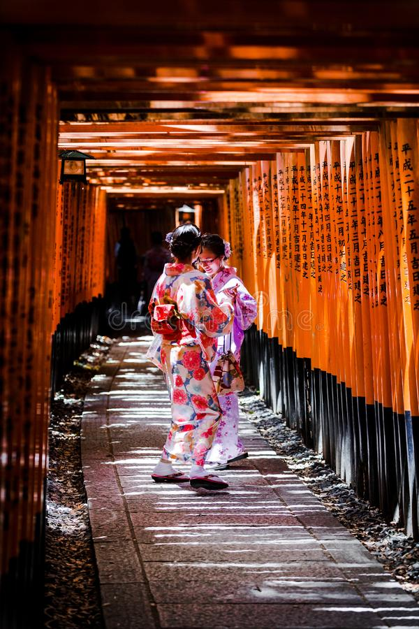 De Kimonoschoonheid van Kyoto stock foto's