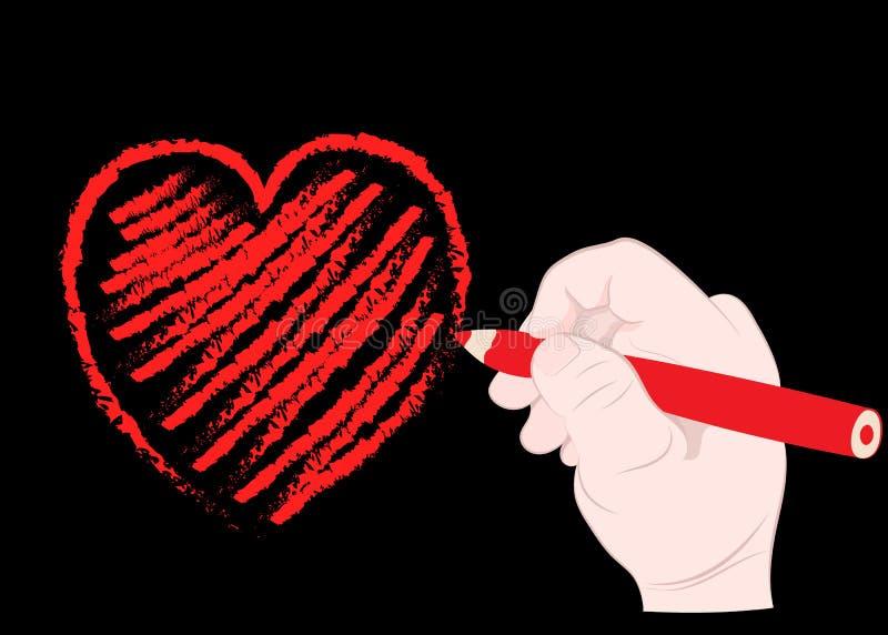 De kind` s hand trekt een rood hart in een potlood stock illustratie