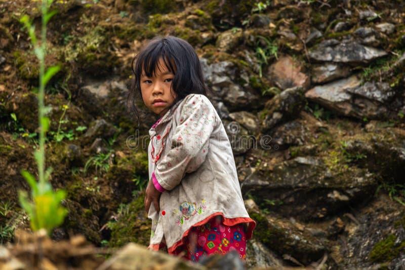 De kinderarbeid Vietnam van de Hmongetnische minderheid royalty-vrije stock afbeeldingen