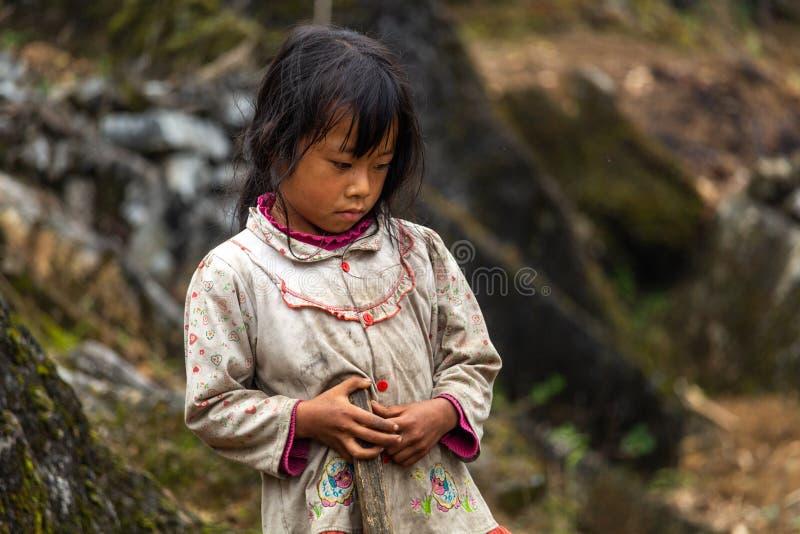 De kinderarbeid Vietnam van de Hmongetnische minderheid stock foto's