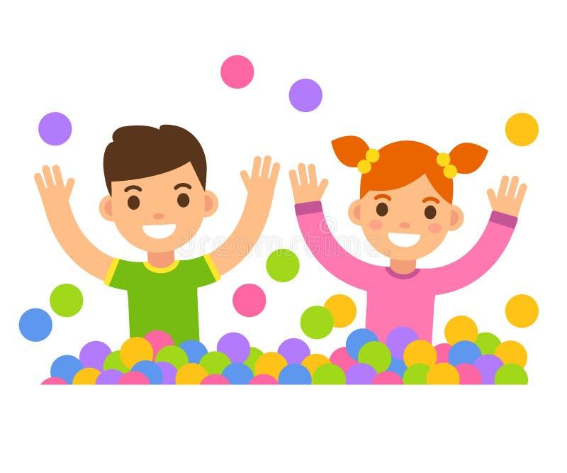 De kinderen in bal maken in kuiltjes stock illustratie