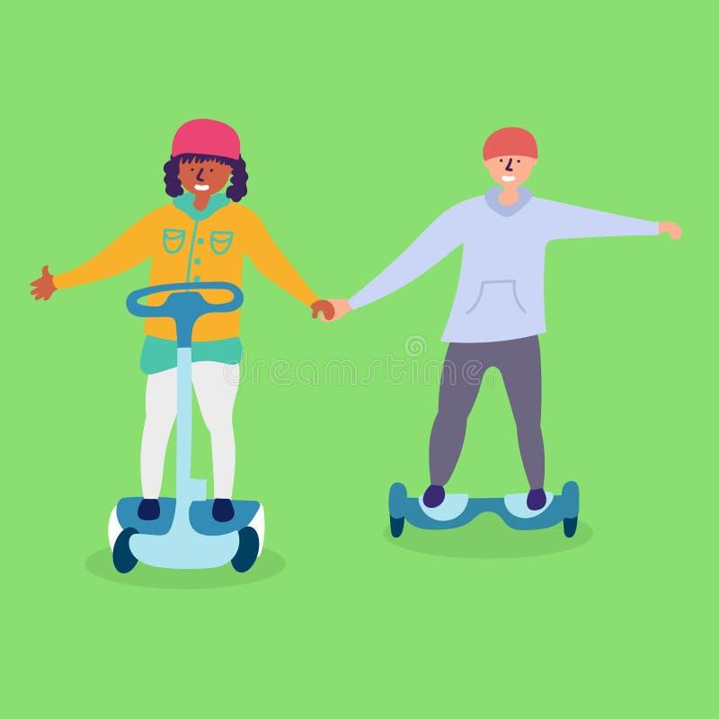 De kinderen berijden bij het elektronische vervoer hoverboard vector illustratie