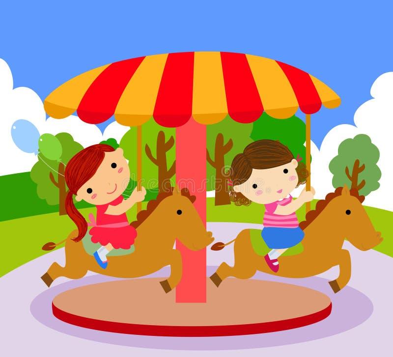 De kinderen berijden op de carrousel royalty-vrije illustratie