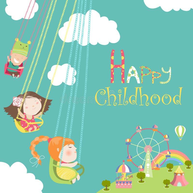 De kinderen berijden op de carrousel vector illustratie