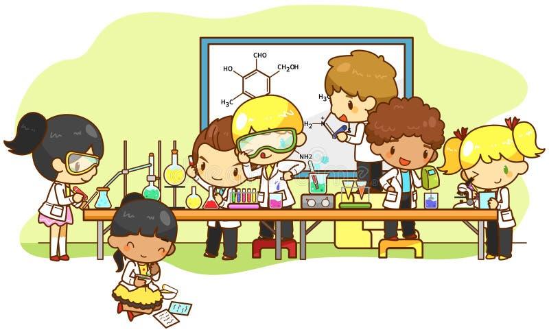De kinderen bestuderen en werkend in het laboratorium, creeer door v vector illustratie