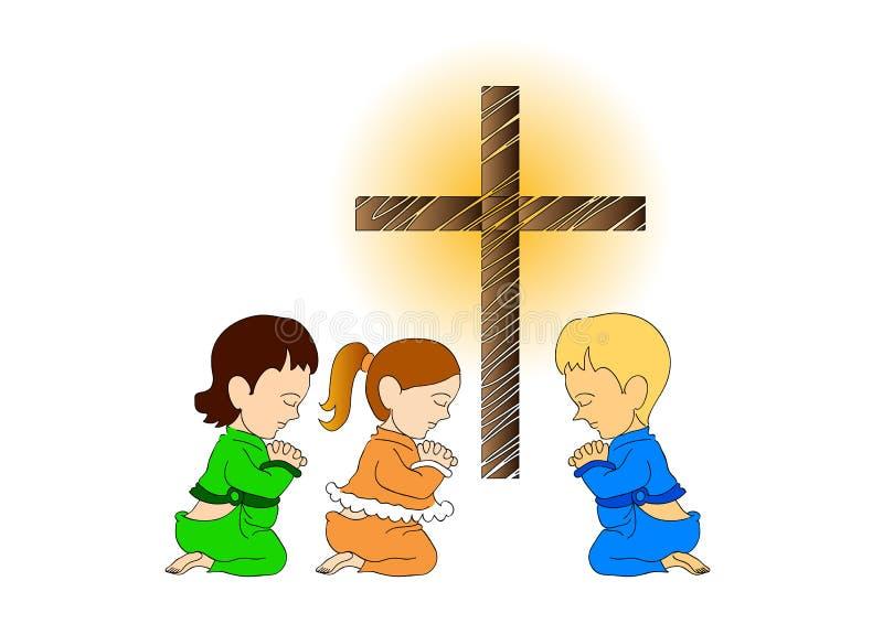 Ongebruikt Kinderen Die In De Kerk Bidden Stock Illustratie - Illustratie TL-42