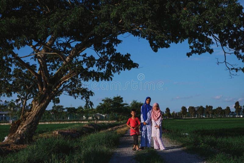 De kinderen bij zijn van Paddy Field in Maleisië royalty-vrije stock foto's