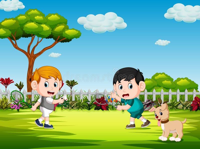 De kinderen die badminton en de hond spelen letten op hen stock illustratie