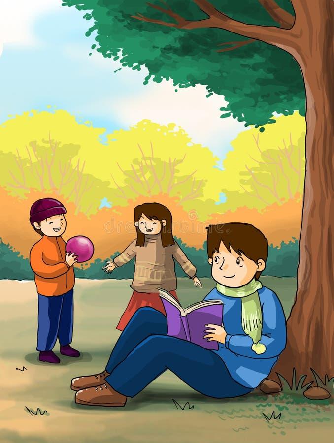 De kinderen die van jonge geitjes in het park spelen stock illustratie