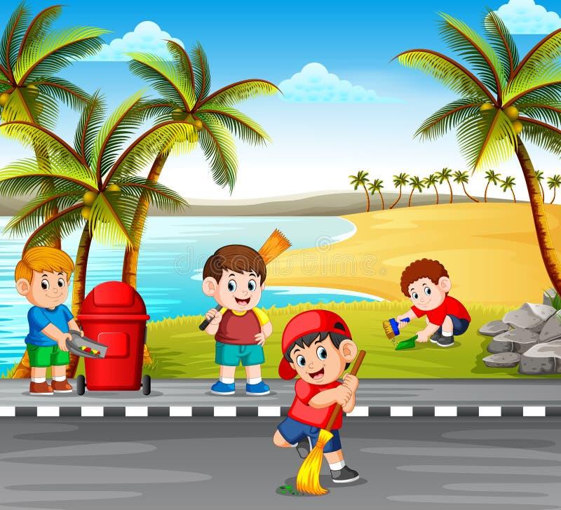 De kinderen die de weg schoonmaken dichtbij het strand van de gevaarsdingen om het schoon te maken royalty-vrije illustratie