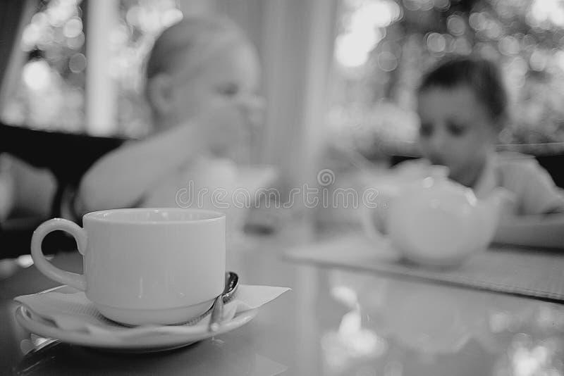 De kinderen drinken thee in koffie stock fotografie