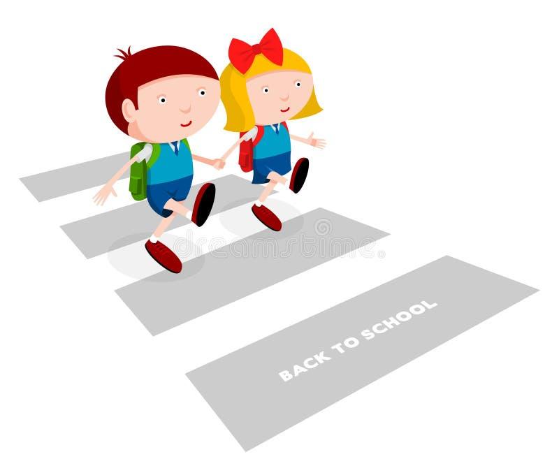De kinderen gaan naar school stock illustratie