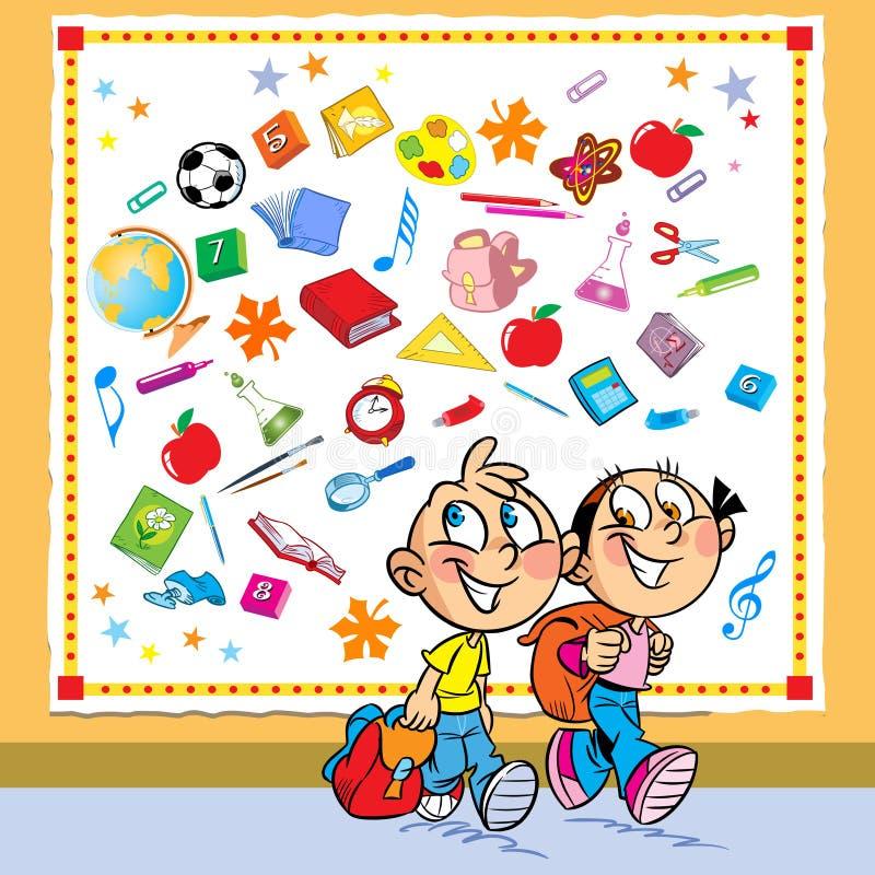 Download De Kinderen Gaan Naar School Vector Illustratie - Illustratie bestaande uit kennis, glas: 39112018