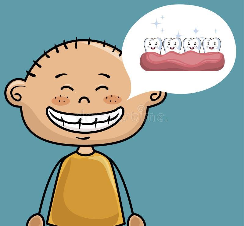 De kinderen glimlachen tandgezondheidszorgpictogram royalty-vrije illustratie