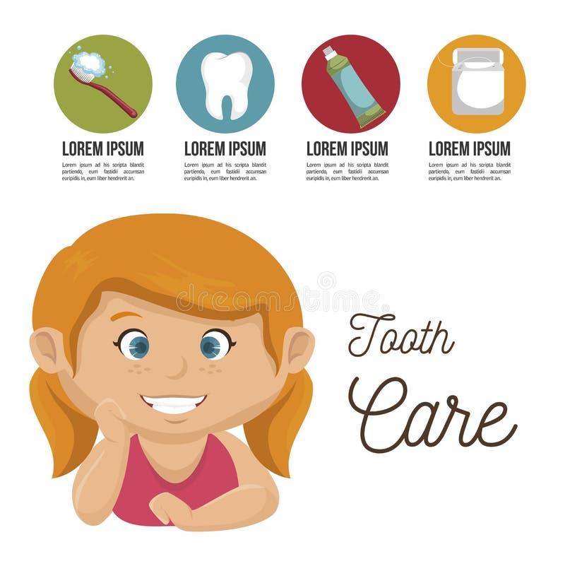 De kinderen glimlachen tandgezondheidszorgpictogram vector illustratie