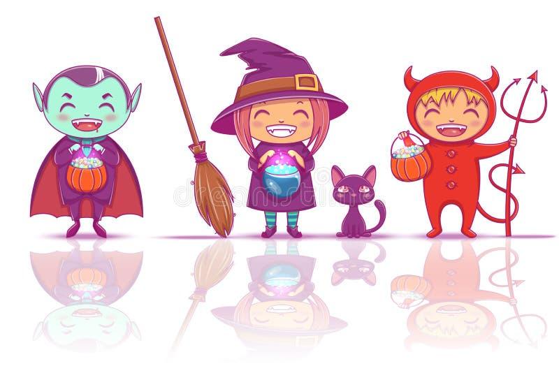De kinderen in Halloween-kostuums van heks, vampier en duivel zijn klaar voor Gelukkige Halloween-Partij geïsoleerd op witte acht royalty-vrije illustratie