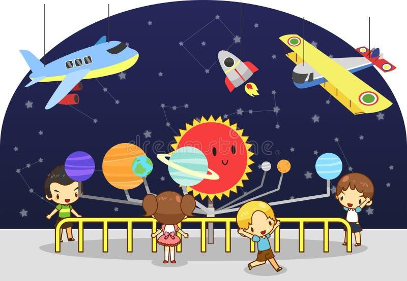 De kinderen hebben een onderwijsstudie bij de wetenschapsfysica vector illustratie
