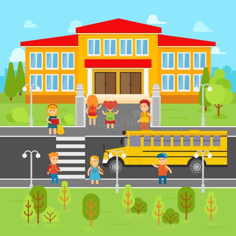 De kinderen keren naar school vector vlakke illustratie terug Schoolbus, jonge geitjes infographic elementen vector illustratie