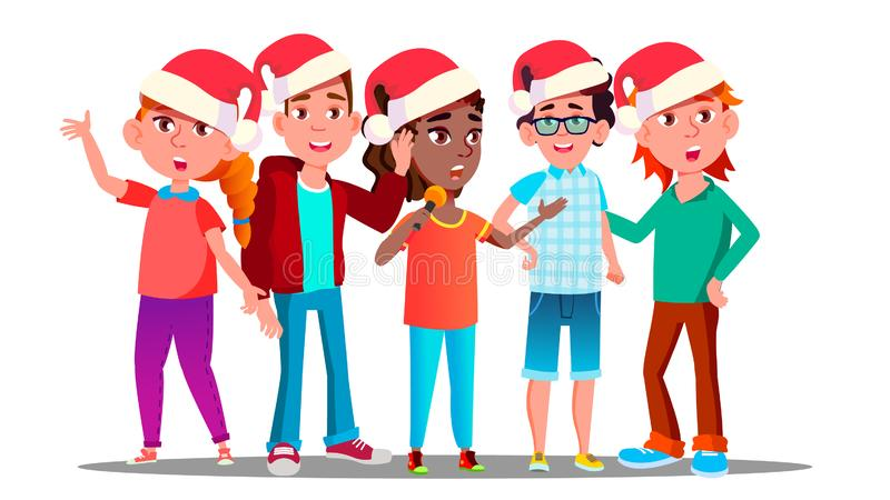 De kinderen in Kerstmis dekt Zingende Carol Vector af Illustratie vector illustratie