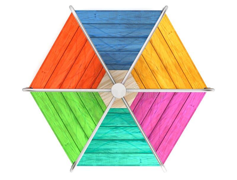 De kinderen kleuren houten carrousel stock illustratie