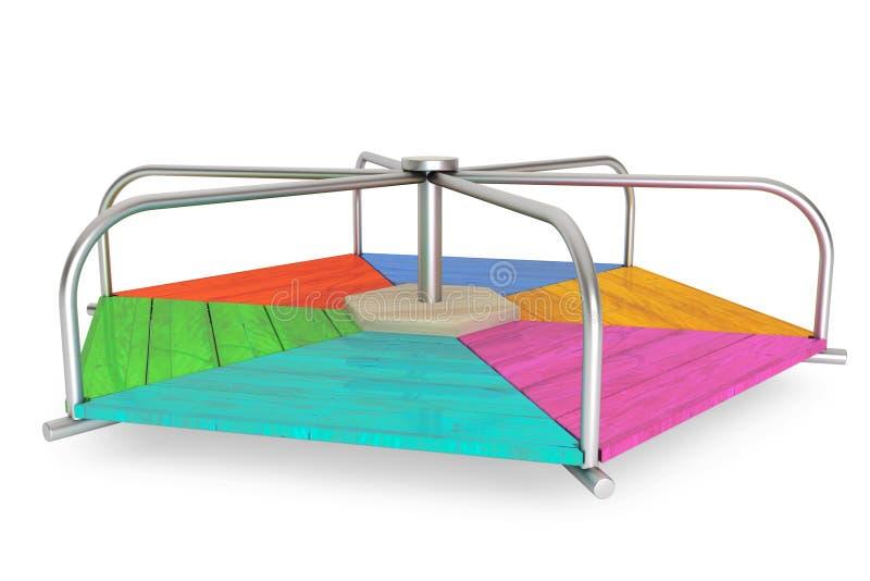 De kinderen kleuren houten carrousel royalty-vrije illustratie
