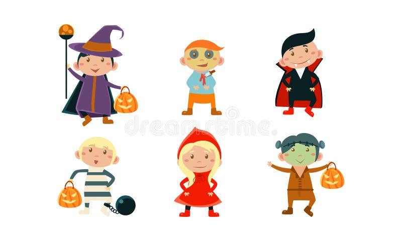 De kinderen in kleurrijke Halloween-kostuums plaatsen, jonge geitjes bij Carnaval-partij vectorillustratie op een witte achtergro royalty-vrije illustratie