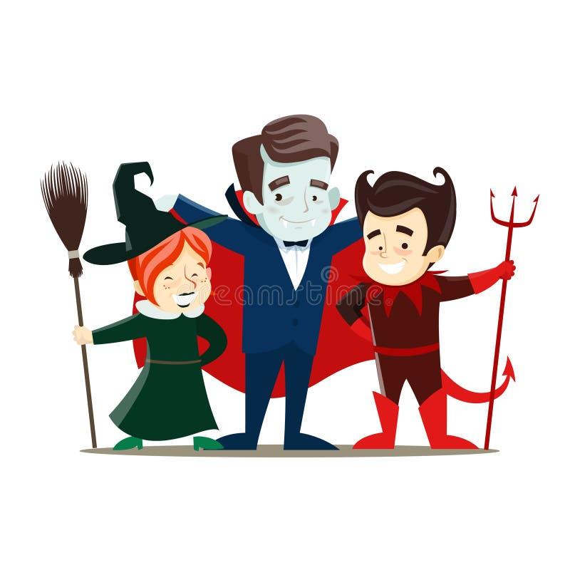 De kinderen in kostuums van de vampier, heks en de duivel treffen voor Halloweens voorbereidingen royalty-vrije illustratie