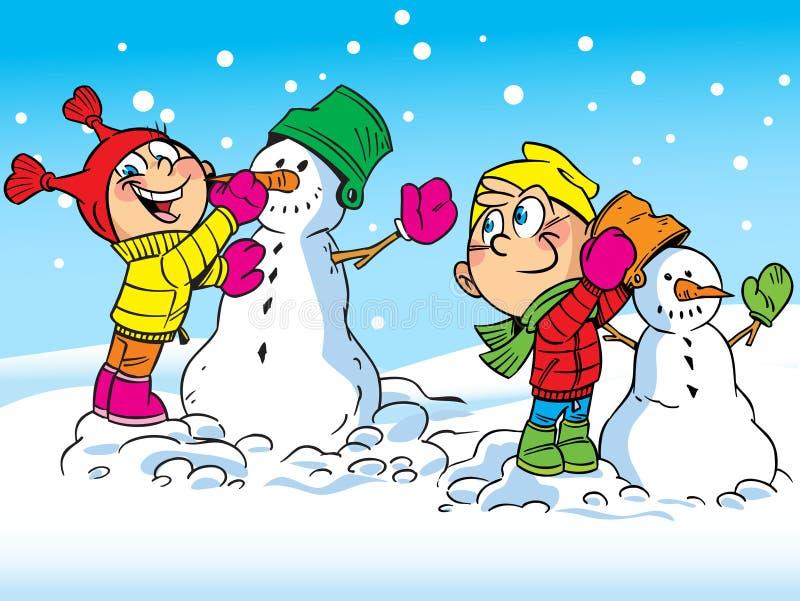 De kinderen maken sneeuwmannen stock illustratie