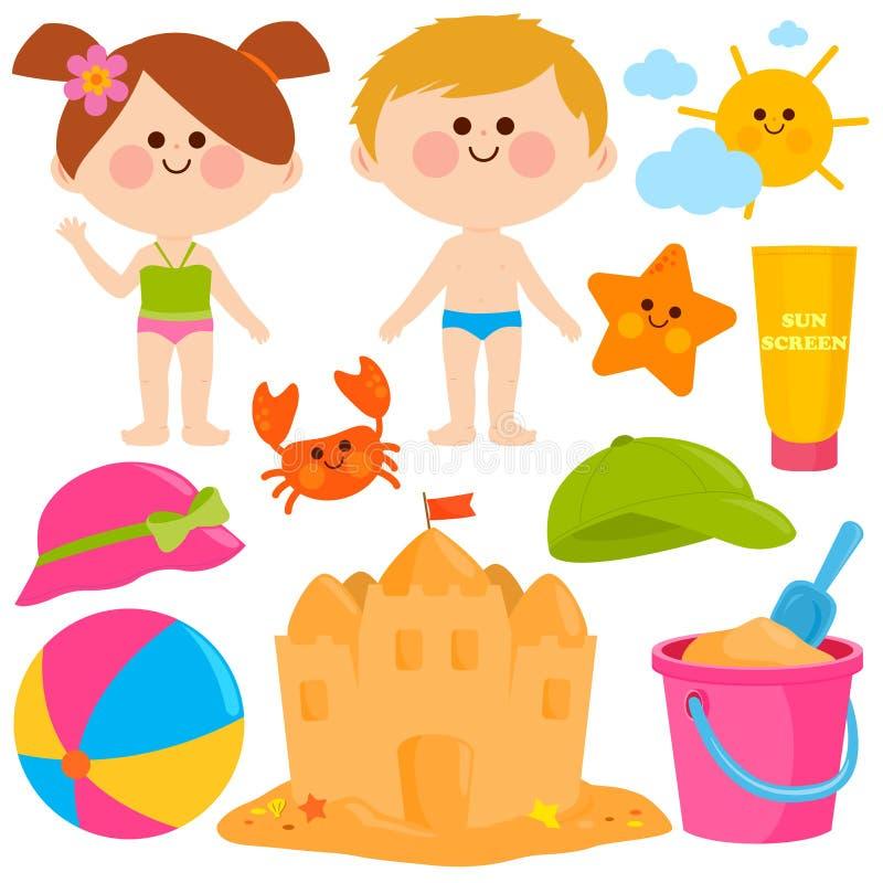 De kinderen met zwempakken en de vakantie van de strandzomer ontwerpen elementen vector illustratie