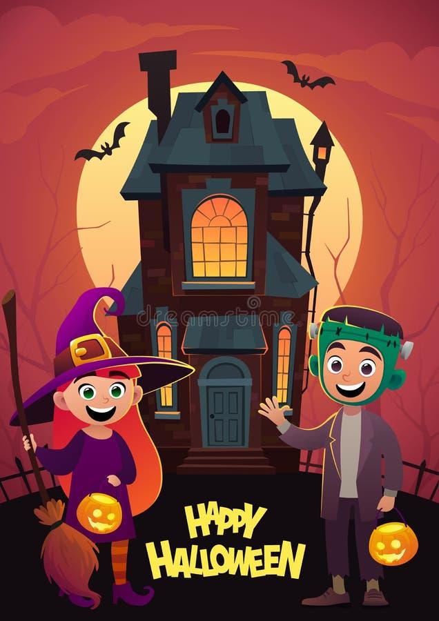 De kinderen in monsterkostuums beheksen en frankenstein bij achtergrondhuistrucs of behandelen Gelukkig Halloween vector illustratie