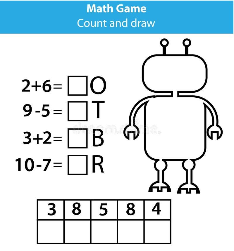 De kinderen onderwijsspel van het woordenraadsel met wiskundevergelijkingen Het tellen en brievenspel Het leren aantallen en woor vector illustratie