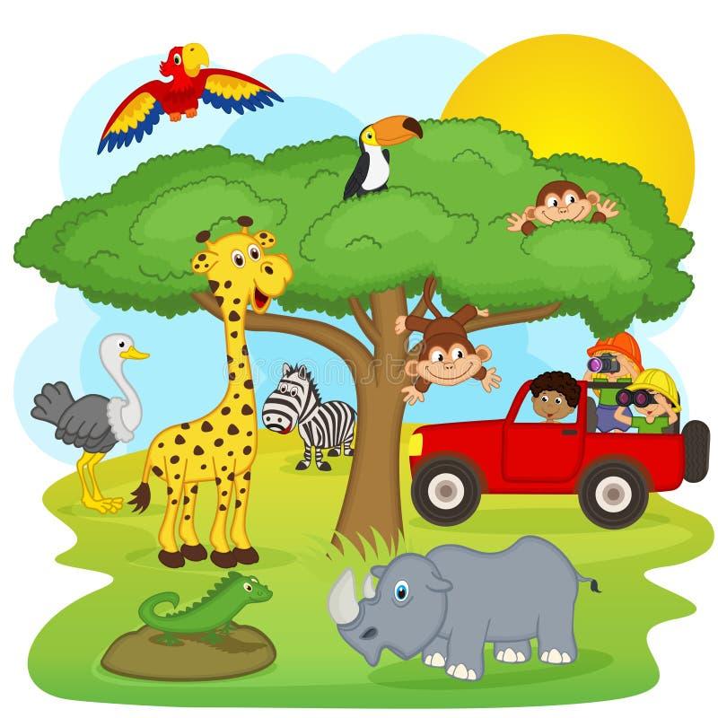 De kinderen op een safari reizen stock illustratie