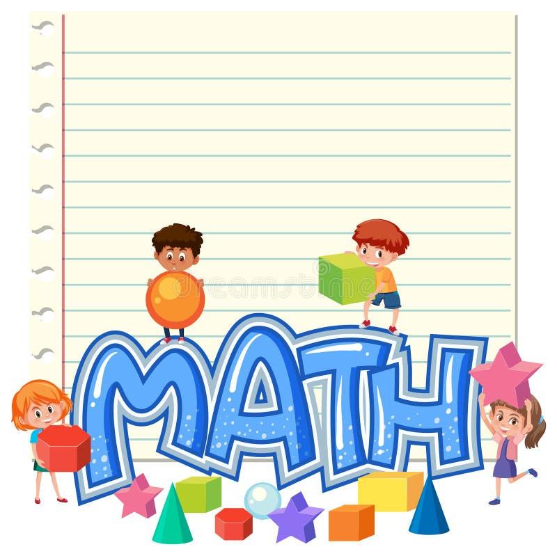 De kinderen op wiskunde nemen nota van malplaatje vector illustratie
