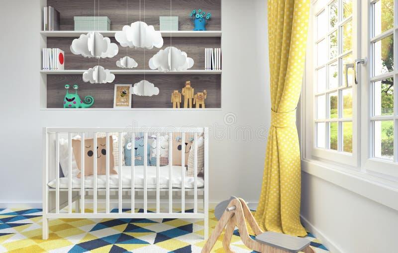 De kinderen` s ruimte met wieg voor 3d baby geeft 3d illustratie terug stock illustratie