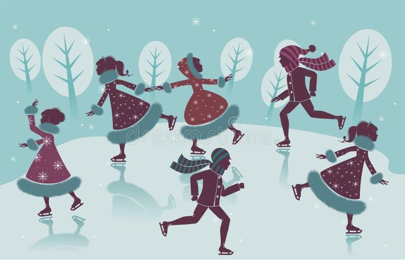 De kinderen schaatsen stock illustratie